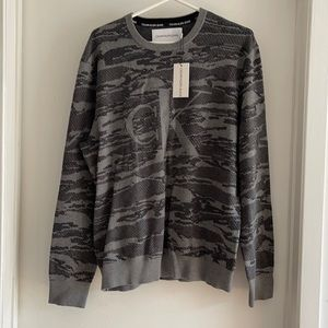 NWT Calvin Klein gray camo sweater